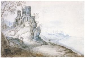 Capriccio van een rotsachtige kust met de tempel van de Tiburtijnse Sibille te Tivoli