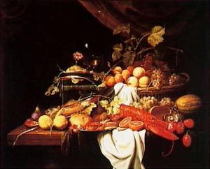 Stilleven met vruchten, krab en een kreeft