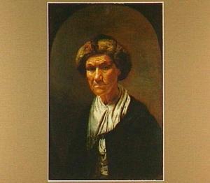 Portret van een oude vrouw met een bontmuts