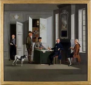 Groepsportret van Reijnier Buijsing (1743-1821), Gerard Buysing (1768-1820) en drie onbekende mannen