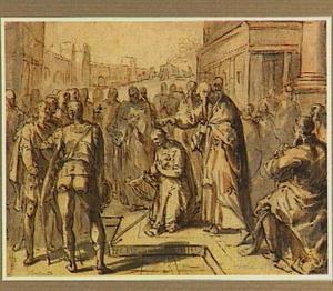 Samuel zalft David tot koning in aanwezigheid van Jesse en zijn broers  (1 Samuel 16:12-13)