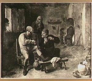 Boerengezelschap met violist in een interieur
