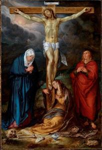 Christus aan het kruis met Maria, Johannes de Evangelist en Maria Magdalena