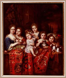 Groepsportret van zes onbekende kinderen