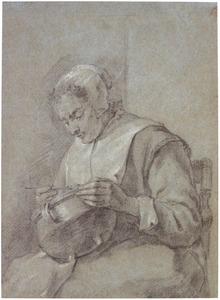 Zittende vrouw, etend uit een kookpot