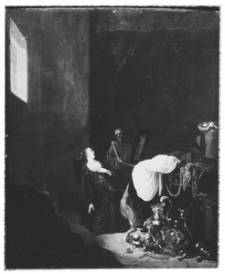 Jonge vrouw en een skelet met een spiegel, bij een uitstalling van kostbaarheden in een interieur