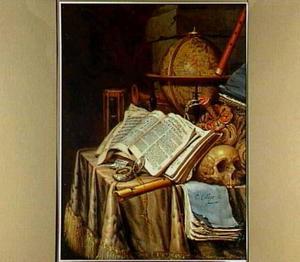 Vanitasstilleven met boeken, schedel  (na schoonmaak in 1997) en globe.