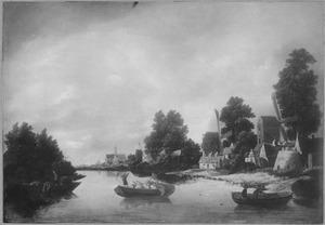 Rivierlandschap met dorp op rechteroever (op de achtergrond de kerk van Haarlem)