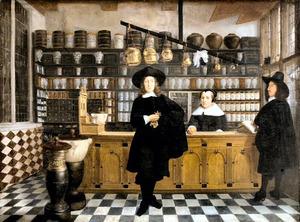 Apotheker met echtgenote en knecht in zijn apotheek