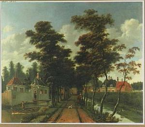 Bomenlaantje bij een dorp