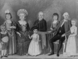 Portret van Hendrik Justus van Oldenbarneveld genaamd Witte Tullingh (1745-1795) en zijn gezin