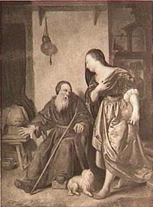 De vrouw van Jerobeam bij de aan staar lijdende profeet Achia (I Koningen 14:1-16)