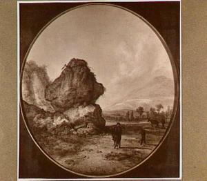 Rotsachtig landschap met enkele figuren