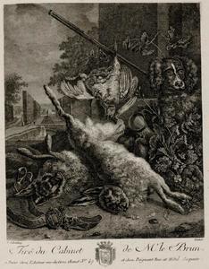 Jachtstilleven met dode hazen, dode vogels en een hond