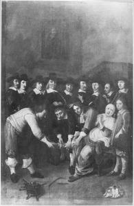 Portret van het chirurgijnsgilde met in de voorgrond een voetoperatie