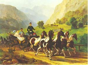 Rijtoer van Keizer Franz Joseph I en zijn bruid Elisabeth op 21 augustus 1853 bij Bad Ischl