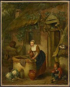 Een vrouw bij een waterput