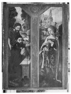Portret van een stichter met de H. Johannes de Doper (links); de H. Maria Magdalena (rechts)