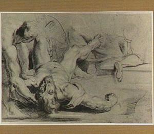 Twee naakte mannen, een achterover liggend