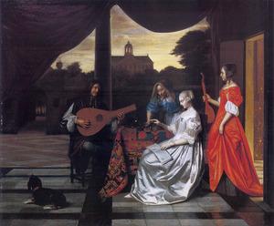 Musicerend gezelschap op een terras