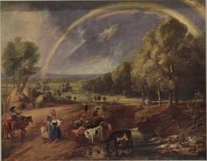 Boeren en melkmeisjes onderweg met hun kudde in een landschap met een regenboog