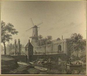 Gezicht op de Tolsteegpoort te Utrecht