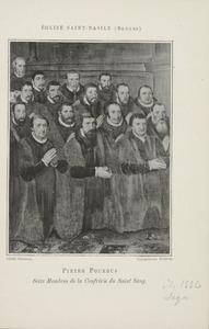 Groepsportret van zestien leden van de Broederschap van het Heilig Bloed