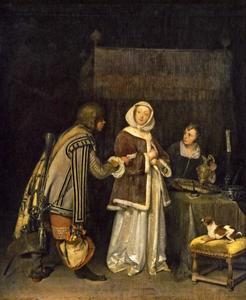 Interieur met een bode die een brief aanreikt aan een jonge vrouw