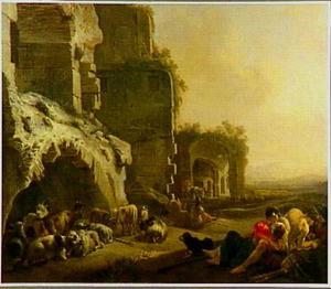 Herders met hun kudde voor Romeinse ruïnes (mogelijk het Colosseum of het Amphithater van Marcellus in Rome)