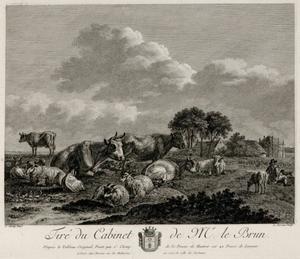 Landschap met vee en herder bij een boerderij