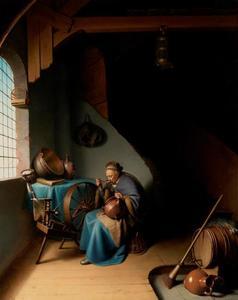 Oude vrouw die pap eet bij een spinnewiel in een interieur