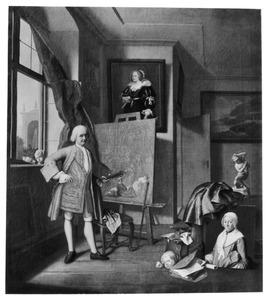 Zelfportret in zijn atelier