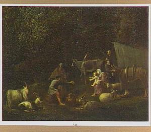 Landschap met rustende herders bij een tent