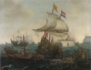 Hollandse schepen overvaren Spaanse galeiën onder de Vlaamse kust, 3 oktober 1602