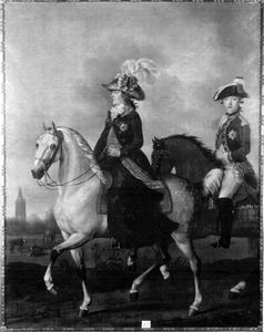 Ruiterportret van Wilhelmina van Pruisen (1751-1820) en haar zoon Frederik van Oranje-Nassau (1774-1799)