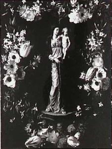 Madonna met kind omgeven door een bloemenkrans
