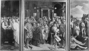 De Viglius-triptiek: de besnijdenis (links), Christus als twaalfjarige in de tempel (midden), de doop in de Jordaan (rechts)