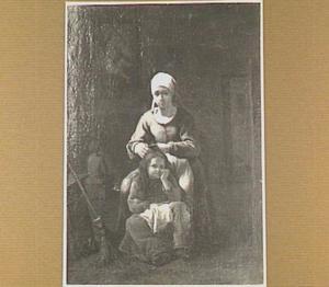 Vrouw in interieur die een kind ontluist