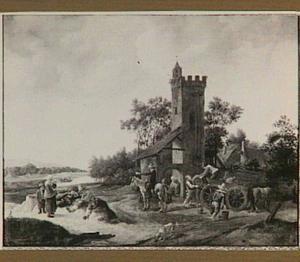 Rivierlandschap met figuren en een wagen voor een toren