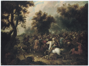 Boslandschap met ruitergevecht