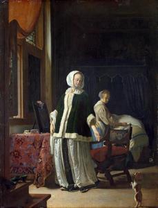 Jonge vrouw die een hondje doet opzitten