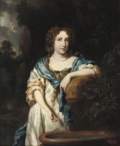 Portret van een vrouw, steunend op een fontein