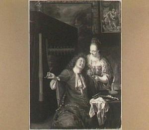 Interieur met rokende man en een vrouw