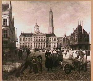Gezicht op de Dam te Amsterdam, met de nimmer gebouwde toren van de Nieuwe Kerk