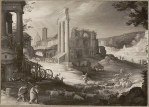 Gezicht op het Forum Romanum met de zuilen van de Castor en Polluxtempel en de Hadrianische basilica