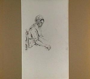 Bovenlijf van een zittende vrouw met muts en schets van haar onderlijf
