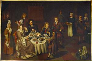 Portret van Julius Schelto van Aitzema (....-1714), Sara van den Broek (....-1719), gast(en) en bedienden