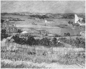 De oogst bij La Crau, met de Montmajour op de achtergrond
