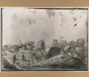 Duinlandschap met boerderijen en wandelaars in Noord-Holland