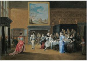 Elegant dansend en dinerend gezelschap in een rijk interieur